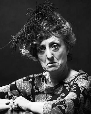 Puss Photograph - 1970s Portrait Senior Woman With Mean by Vintage Images