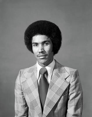 Afro Photograph - 1970s Serious African American Man by Vintage Images