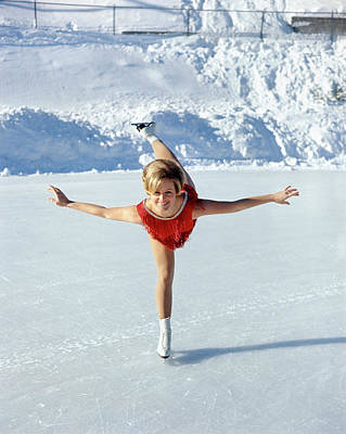 Figure Skater Photograph - 1970s Smiling Blonde Woman Figure by Vintage Images