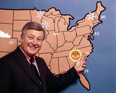 Forecast Photograph - 1970s Smiling Television Meteorologist by Vintage Images