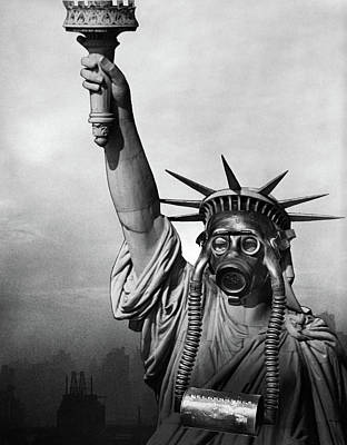 Sadness Painting - 1970s Statue Of Liberty Wearing Gas by Vintage Images