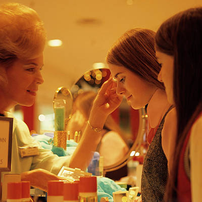 Seeing Photograph - 1970s Teen Girls At Make Up Counter by Vintage Images