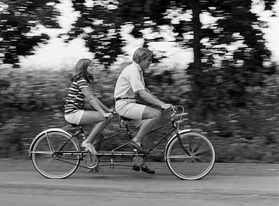 Teenage Girl Photograph - 1970s Teenage Girl And Boy Riding by Vintage Images