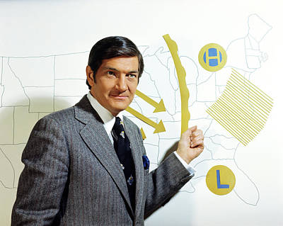 Forecast Photograph - 1970s Tv Television Weatherman Standing by Vintage Images