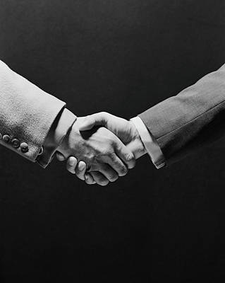1970s Two Businessmen Shaking Hands Art Print