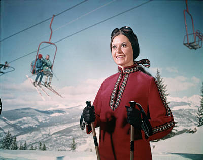 Poncho Photograph - 1970s Woman In Winter Gear And Goggles by Vintage Images