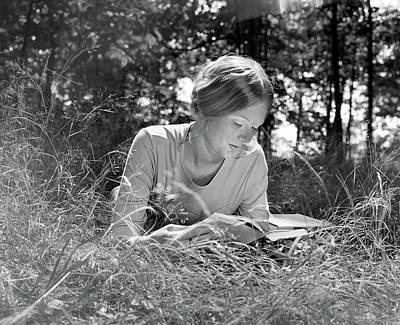 1970s Woman Lying Stomach-down In Field Art Print