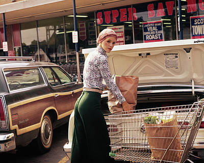 Paper Bag Photograph - 1970s Woman Putting Grocery Bags by Vintage Images