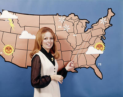 Forecast Photograph - 1970s Woman Weather Girl Meteorology by Vintage Images