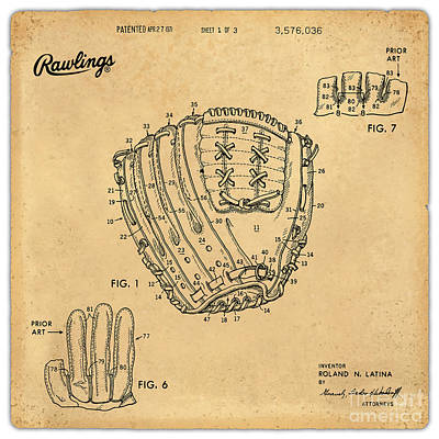 Collectible Sports Art Drawing - 1971 Baseball Glove Patent Art Latina For Rawlings 1 by Nishanth Gopinathan