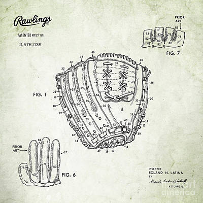 Baseball Royalty-Free and Rights-Managed Images - 1971 Baseball Glove Patent Art Latina for Rawlings 2 by Nishanth Gopinathan