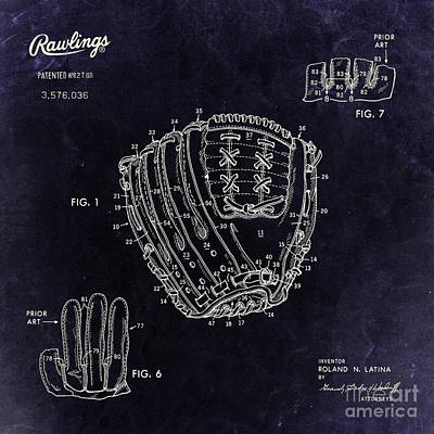 Baseball Royalty-Free and Rights-Managed Images - 1971 Baseball Glove Patent Art Latina for Rawlings 3 by Nishanth Gopinathan