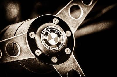 Lightweight Photograph - 1971 Bmw 3.0csl Lightweight Prototype - Steering Wheel Emblem -0498s by Jill Reger