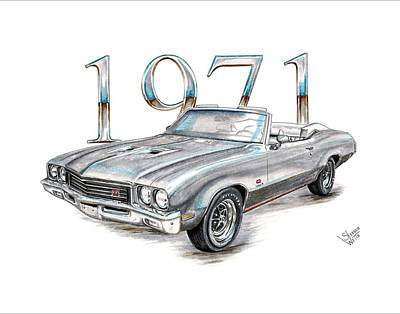 Buick Drawing - 1971 Buick Gs Convertible by Shannon Watts