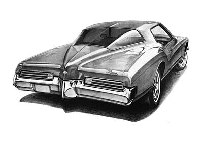 Buick Drawing - 1971 Buick Riviera by Nick Toth