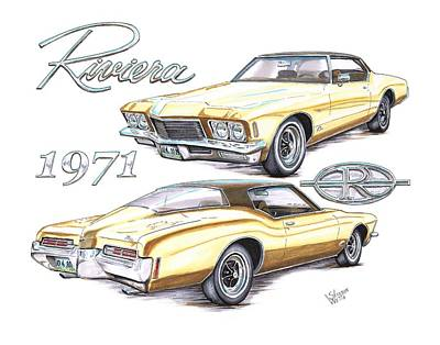 Buick Drawing - 1971 Buick Riviera by Shannon Watts