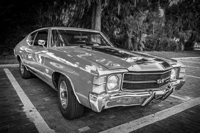 V8 Chevelle Photograph - 1971 Chevy Chevelle 454 Ss Painted Bw    by Rich Franco