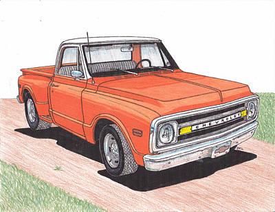 Street Rod Drawing - 1971 Chevy Truck by Darrell Leonard