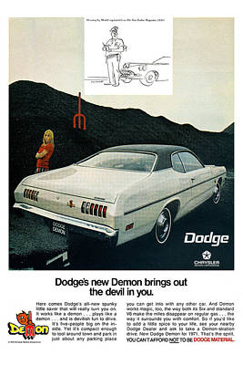 Dart Digital Art - 1971 Dodge Demon by Digital Repro Depot