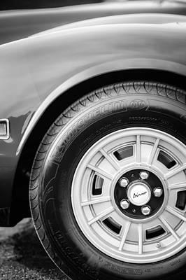 Photograph - 1971 Ferrari Dino 246 Gt Wheel Emblem -0345bw by Jill Reger