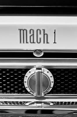 Photograph - 1971 Ford Mustang Mach 1 Emblem -0483bw by Jill Reger