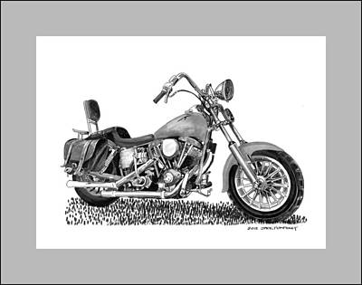 Ink Wash Drawing Drawing - 1971 Harley Davidson S O A Shovel Head F  L by Jack Pumphrey