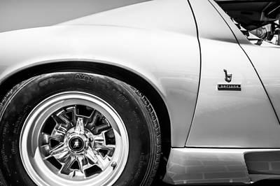 Photograph - 1971 Lamborghini Miura Sv Wheel Emblem -0390bw by Jill Reger