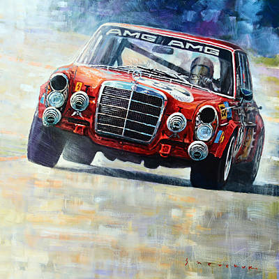 Pig Wall Art - Painting - 1971 Mercedes-benz Amg 300sel by Yuriy Shevchuk