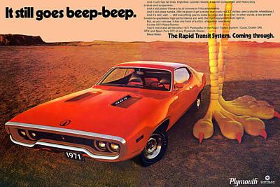 Roadrunner Digital Art - 1971 Plymouth Road Runner by Digital Repro Depot