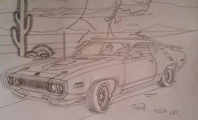 Roadrunner Drawing - 1971 Plymouth Roadrunner by Henry Hargrove