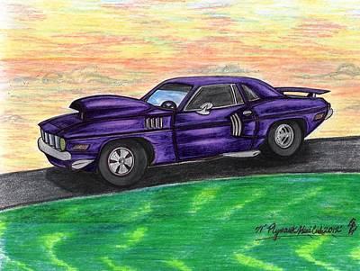1971' Purple Plymouth Hemi-cuda Original by Gene Pippert