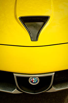 Montreals Oldest Photograph - 1972 Alfa Romeo Montreal Hood - Grille Emblem -0172c by Jill Reger