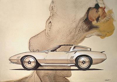 Concept Mixed Media - 1972 Barracuda  A  Cuda Plymouth Vintage Styling Design Concept Rendering Sketch by John Samsen