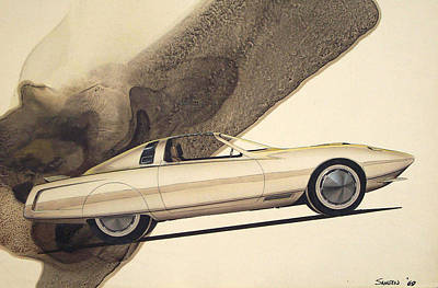 Muscle Cars Drawing - 1972 Barracuda  Cuda Plymouth Vintage Styling Design Concept Rendering Sketch by John Samsen