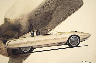 Concept Mixed Media - 1972 Barracuda  Cuda Plymouth Vintage Styling Design Concept Rendering Sketch by John Samsen