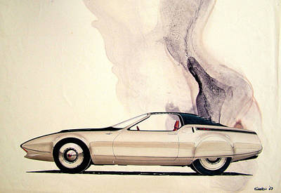 Vintage Car Drawing - 1972 Barracuda  Cuda Plymouth Vintage Styling Design Concept Sketch C69b by John Samsen