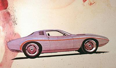 Car Art Drawing - 1972 Barracuda  J Cuda Vintage Styling Design Concept Sketch by John Samsen