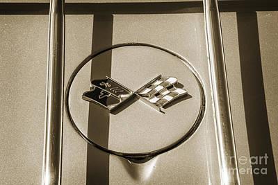 Photograph - 1972 Chevrolet Corvette Stingray Emblem Sepia 3034.01 by M K Miller