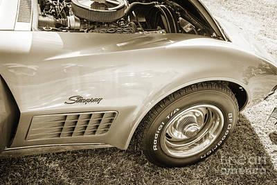 Photograph - 1972 Chevrolet Corvette Stingray Front Fender Sepia 3035.01 by M K Miller