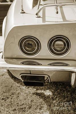 Photograph - 1972 Chevrolet Corvette Stingray Tail Lights Sepia 3033.01 by M K Miller