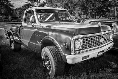 Chevy C10 Photograph - 1972 Chevy Pickup Custom 10 C10 Painted Bw   by Rich Franco