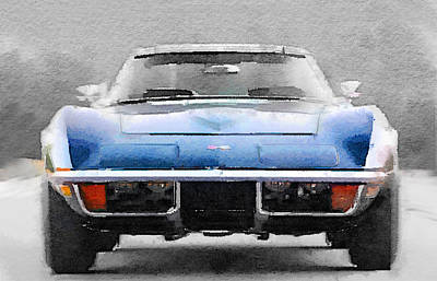 European Painting - 1972 Corvette Front End Watercolor by Naxart Studio
