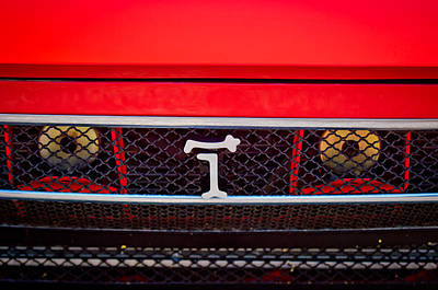 Art Print featuring the photograph 1972 Detomaso Pantera Grille Emblem -0275c by Jill Reger