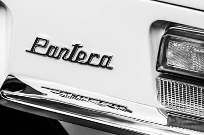 Photograph - 1972 Detomaso Pantera Taillight Emblem -0835bw by Jill Reger