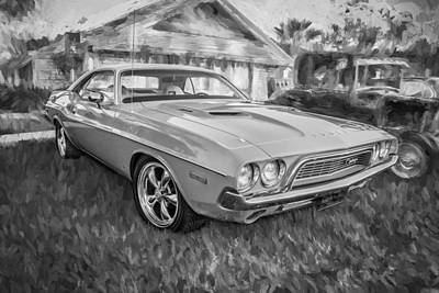 1972 Dodge 340 Challenger Painted Bw   Art Print