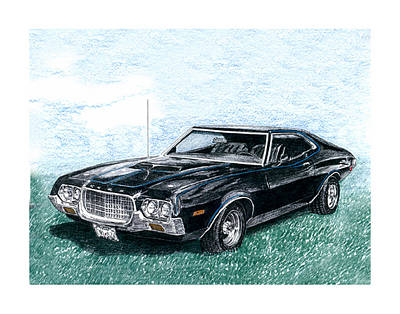 Classic Car Drawings Drawing - 1972 Ford Gran Torino Sport 1972 by Jack Pumphrey