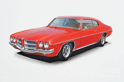Pontiac Drawing - 1972 Pontiac Lemans by Paul Kuras