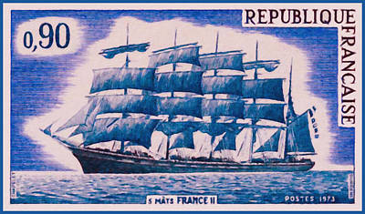 Charente Maritime Painting - 1973 5 Mast II France by Lanjee Chee