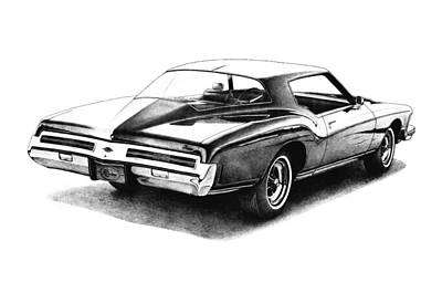 Buick Drawing - 1973 Buick Riviera by Nick Toth