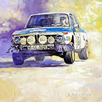 Portugal Painting - 1973 Rallye Of Portugal Bmw 2002 Warmbold Davenport by Yuriy Shevchuk